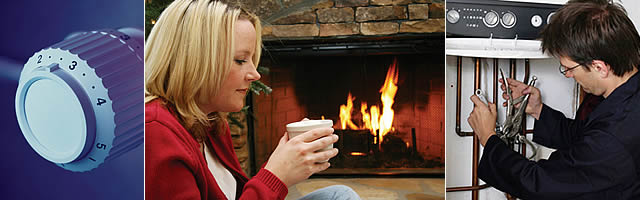 Control Dial, Woman drinking coffee next to fireplace, boiler service engineer