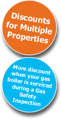 Discounts for Multiple Properties | More discount when your gas boiler is serviced during a Gas Safety Inspection